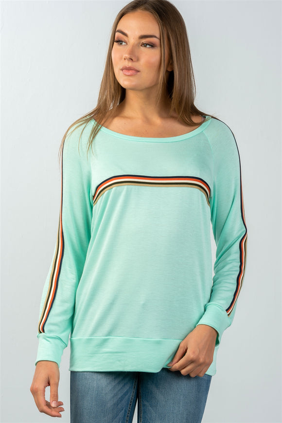Ladies fashion round neckline colored stripes long sleeves knit top - Style Forward