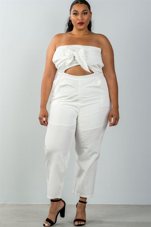 Ladies fashion plus size bow detail at front strapless jumpsuit palazzo pants - Style Forward