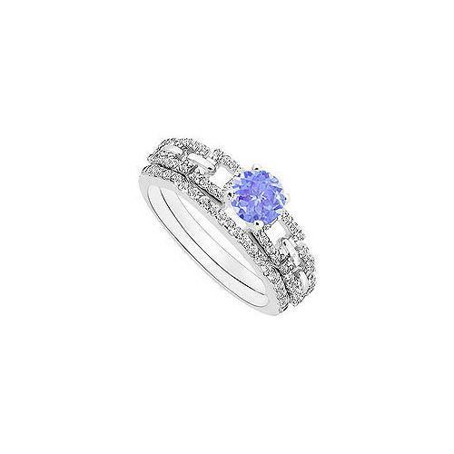 Tanzanite and Diamond Engagement Ring with Wedding Band Set : 14K White Gold - 1.00 CT TGW