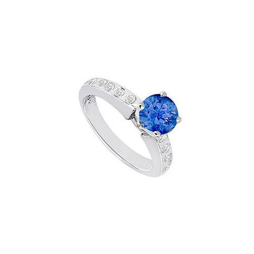 Sapphire and Diamond Engagement Ring 14K White Gold  0.85 CT TGW