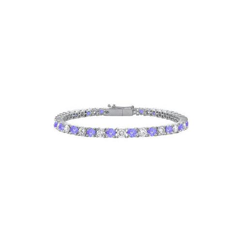 Created Tanzanite and Cubic Zirconia Prong Set 10K White Gold Tennis Bracelet 3.00 CT TGW