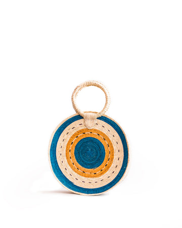 Rattan Circle Straw Bag - blue