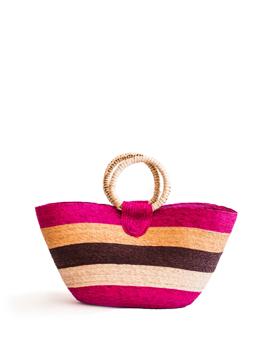 Wicker Tote - pink