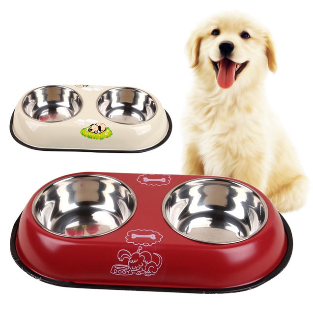 2 in 1 Stainless Steel Double Mesh Pet Travel Feeder