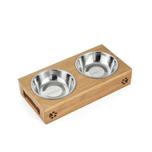 Stainless Steel  Double Bowl Wood Rack Feeder