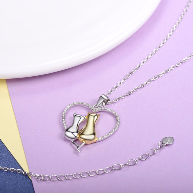 Two Cats Inside Heart Necklace