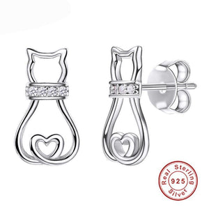 Cubic Zirconia Cat Stud Earrings