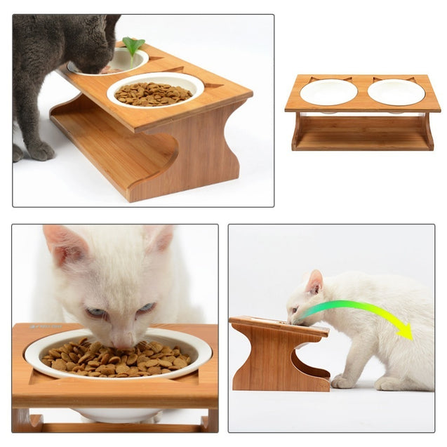 Ceramic Double Bowl Wood Rack Pet Feeder
