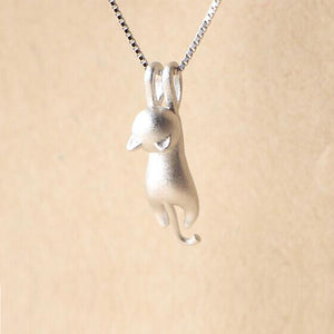 Minimalist Hanging Cat Pendant 925 Silver Necklace for Women