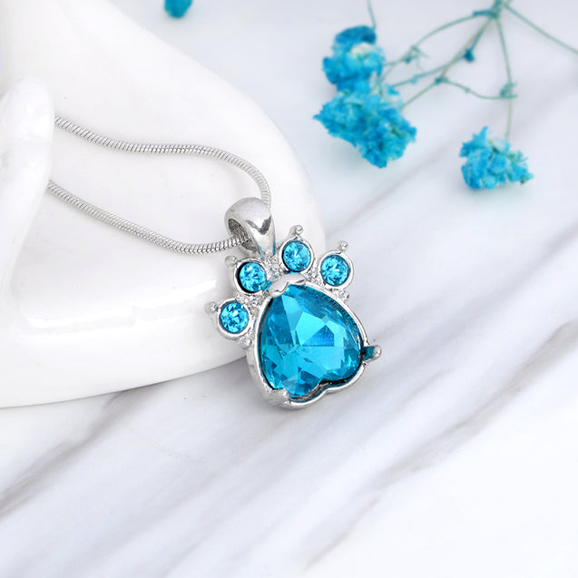 Birthstone & Paw Pendant Snake Chain Necklace
