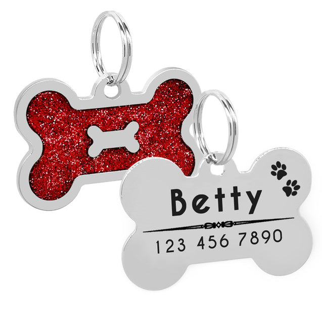 Personalized Glitter  Dog ID Tag