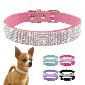 Adjustable Rhinestone Suede Soft Leather Pet Collar