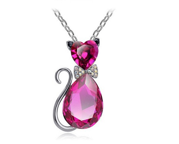 Austrian Crystal Cat Necklace