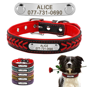 Custom Engraved Name Plate Leather Dog Collar