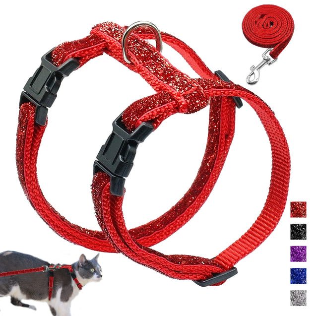 Bling Sequins Cat Harness Leash