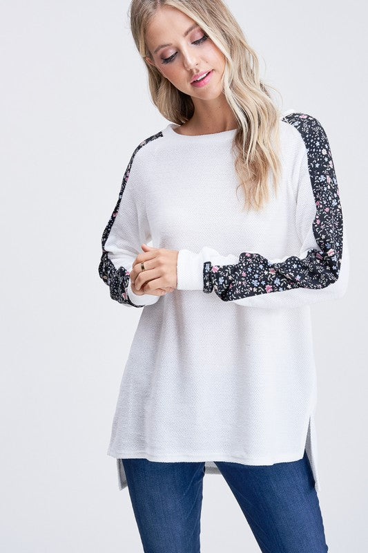 Floral Contrast Sleeves Knit Sweater