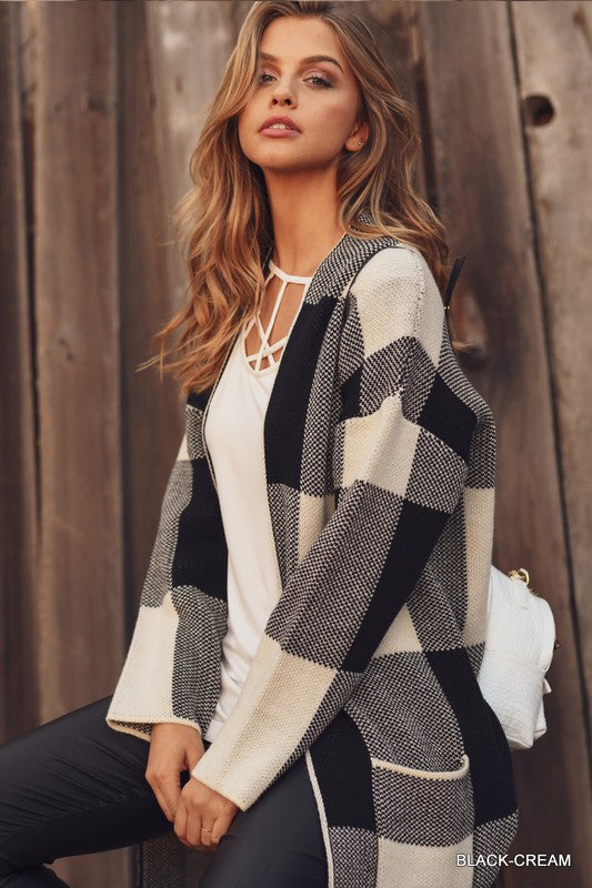 Checkered Knit Cardigan