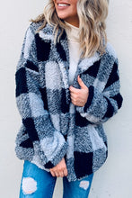 Load image into Gallery viewer, Buffalo Plaid Faux Fur Jacket