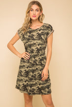 Load image into Gallery viewer, Braid Trim Camo Dress