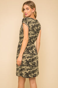 Braid Trim Camo Dress