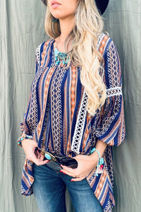 Aztec Printed Lace Detail Tunic Top