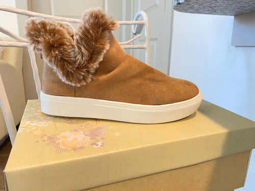 Tan Faux Fur Sneakers