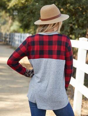 Plaid and leopard top
