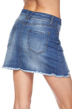 Load image into Gallery viewer, Distressed jean skirt