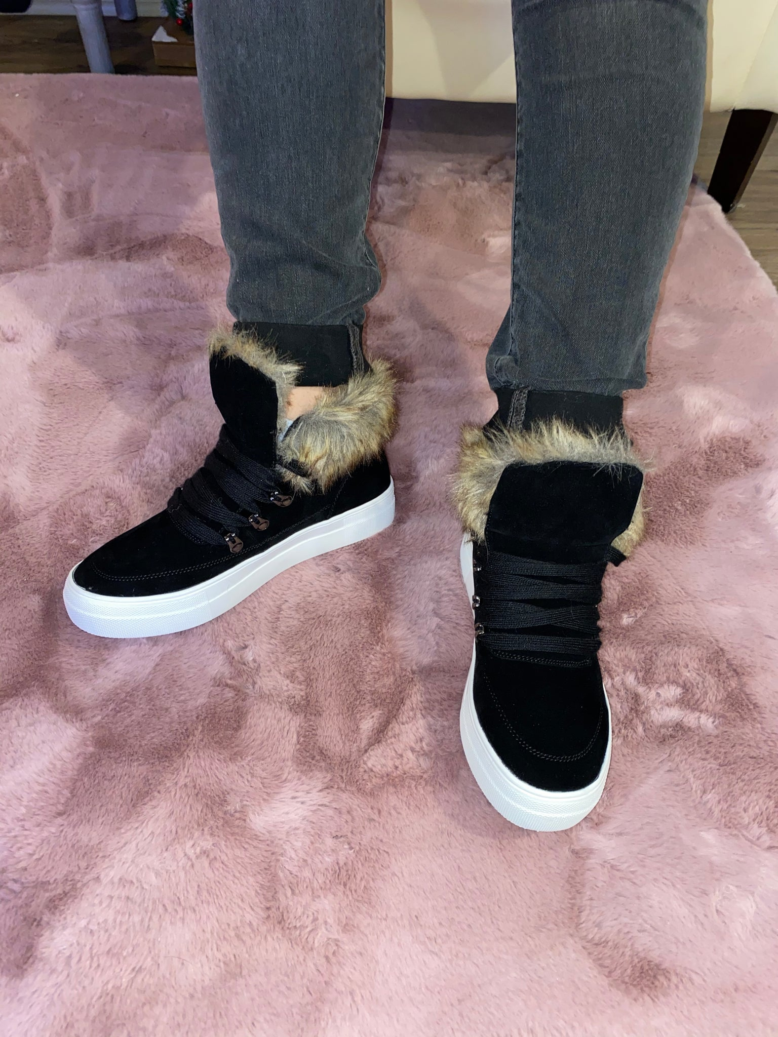 Faux fur sneakers