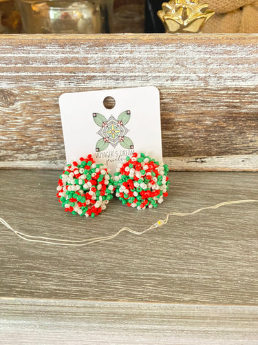 Pom Pom Christmas Earrings