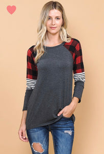 Color Block Plaid Top