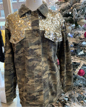 Load image into Gallery viewer, L & B Camo Distressed Jean Jacket