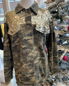 L & B Camo Distressed Jean Jacket