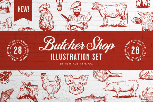 Butcher Shop - Vecor Illustration Set - Heritage Type Co.