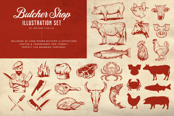 Butcher Shop - Butchery Vecor Illustration Set - Heritage Type Co.