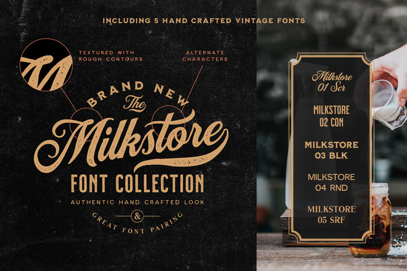 Milkstore Handcrafted Font Collection - Heritage Type Co.