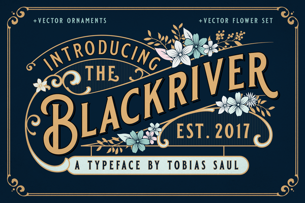Blackriver Font + Ornaments - Heritage Type Co. Vintage Fonts
