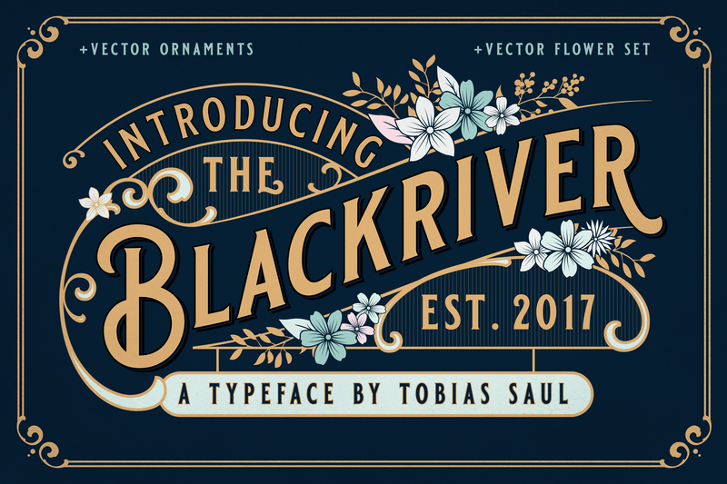 Blackriver Font + Ornaments - Heritage Type Co.