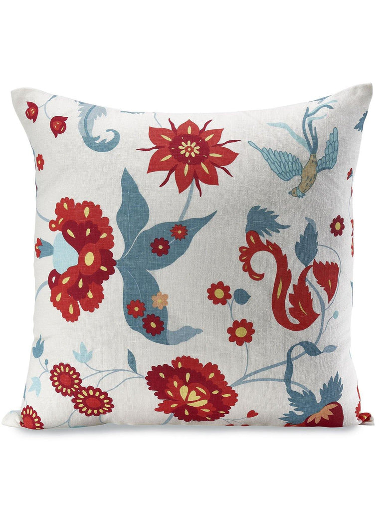 Laila Linen Cushion Cover. This playful and intricate pattern is full of light and vibrant colors. The screen printing is finished by hand, allowing for small imperfections that add movement to the design. We hope it helps brighten your room, as it does our mood. The finished pillow is plump in the center, flat around the edges and closed with high quality, Japanese YKK zips.