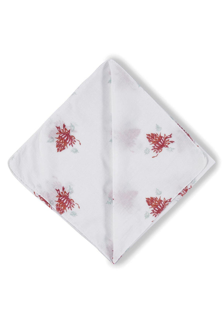 Josephine Bandana. Our bandanas are made from 100 % organic cotton mulul. Soft, durable, breathable and easy to maintain, this funky hand block printed pattern is the perfect compliment to your wardrobe.