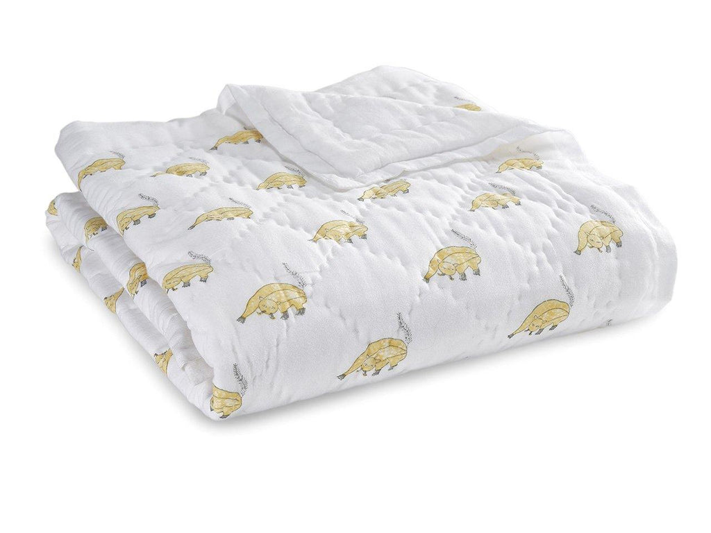 Fat Cat Baby Quilt. Soft, lightweight, comfortable and impeccably hand crafted. Constructed from fine breathable cotton voile and filled with pure organic cotton.