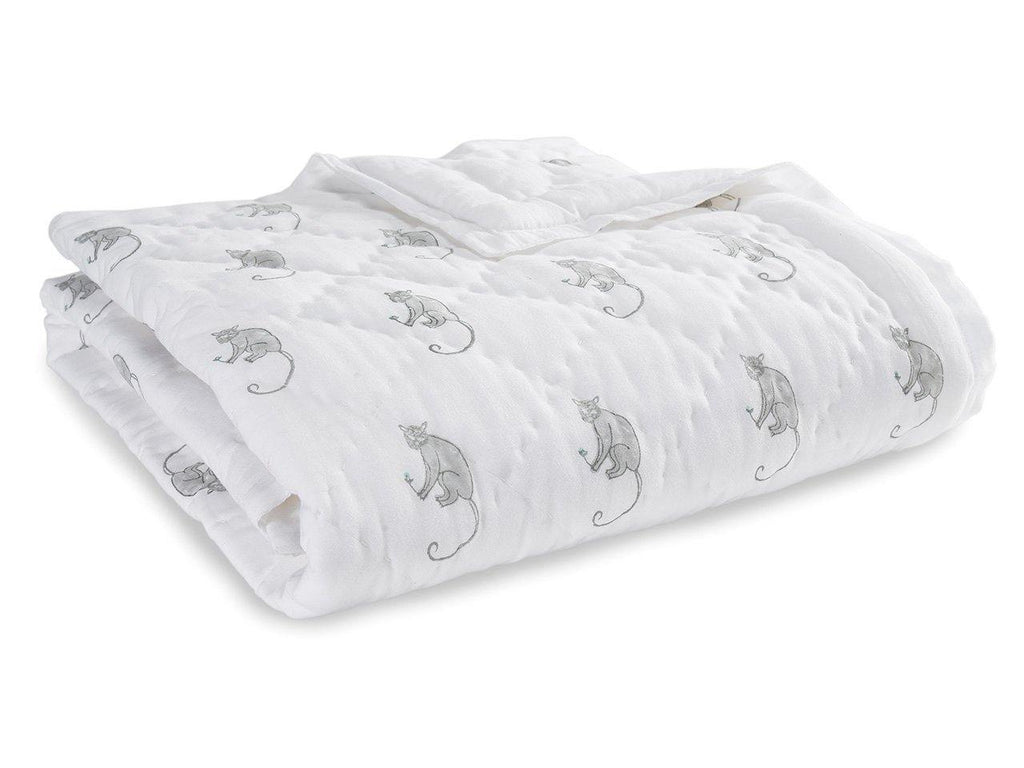 Funky Monkey Baby Quilt. Soft, lightweight, comfortable and impeccably hand crafted. Constructed from fine breathable cotton voile and filled with pure organic cotton.