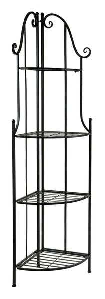 Iron Etagere corner 4 layer M.Black L43W30H150