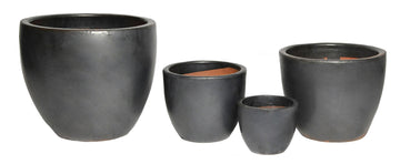 Glazed Egg Pot Matt Black S4 D22/48H21/41