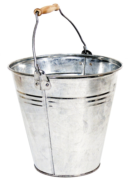 Zinc Natural Bucket Wooden Handle D25H22