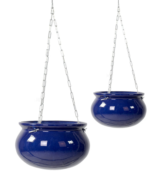Glazed Hanging Pot Fal. Blue S2 D21/27H12/16