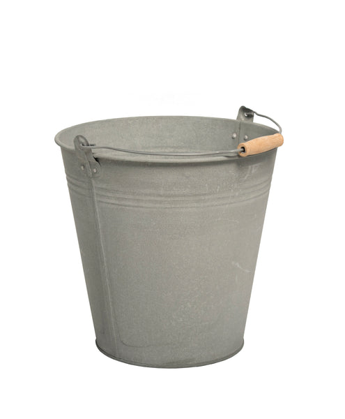 Zinc Old Look Bucket Wooden Handle D25H22