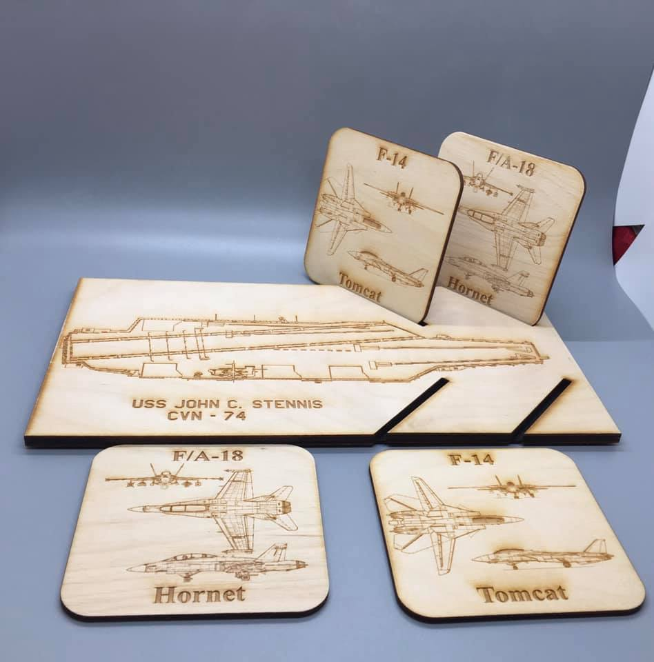 Design Your Own Coaster Set w/Aircraft Carrier Holder