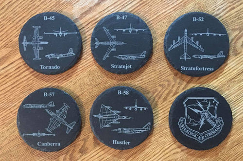 Set of 6 Classic Jet Bomber SAC Slate Coasters