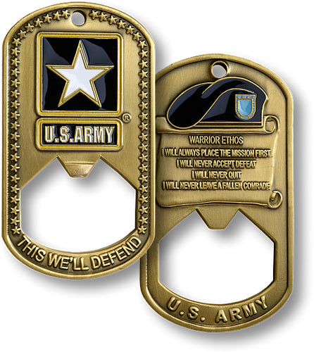U.S. Army Dog Tag Bottle Opener Military Challenge Coin
